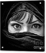 Portrait Of Beautiful Arab Woman With Brown Eyes Wearing Black S Acrylic Print