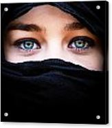 Portrait Of Beautiful Woman With Blue Eyes Wearing Black Scarf Acrylic Print