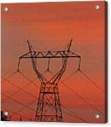 Power Lines Just After Sunset Acrylic Print