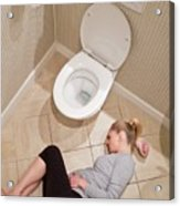 Pregnant Woman Lying On Bathroom Floor Acrylic Print