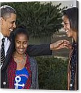 President Obama And Daughters Acrylic Print by JP Tripp