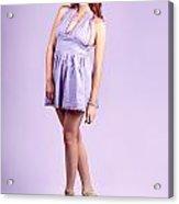 Pretty Brunette Pin Up Woman In Purple Dress Acrylic Print