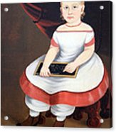Prior Hamblin School's Little Girl With Slate Acrylic Print
