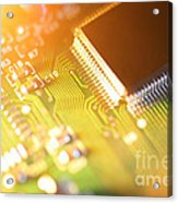 Processor Chip On Circuit Board Acrylic Print