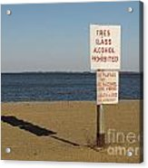 Prohibited Items Sign At Sandy Point Acrylic Print