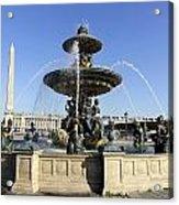 Public Fountain At The Place De La Concorde In Paris France Acrylic Print