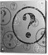 Question Mark Background Bw Acrylic Print