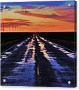 Rainy Highway Acrylic Print by Benjamin Yeager