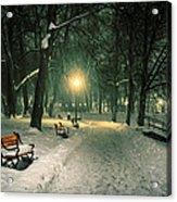 Red Bench In The Park Acrylic Print by Jaroslaw Grudzinski