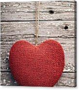 Red Burlap Heart On Vintage Table Acrylic Print