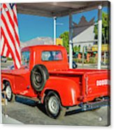 Red Dodge Pickup Truck Parked In Front Acrylic Print