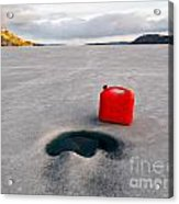 Red Jerrycan Lost On Frozen Lake Laberge Yukon T Acrylic Print