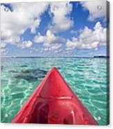 Red Outrigger Canoe Acrylic Print