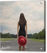 Red Sun Hat Acrylic Print
