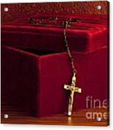 Red Velvet Box With Cross And Rosary Acrylic Print