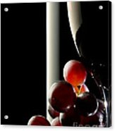 Red Wine With Grapes Acrylic Print by Johan Swanepoel