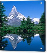 Reflection Of A Snow Covered Mountain Acrylic Print