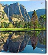 Reflections Of Yosemite Falls Acrylic Print