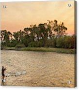 Reid Sabin Fly Fishing At Sunrise Acrylic Print