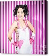 Retro Cleaning Service Maid With Smile Acrylic Print