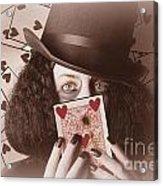 Retro Magician Holding Burnt Playing Card Acrylic Print