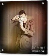 Retro Photographer Man Taking Photo With Camera Acrylic Print