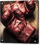 Retro Red Boxing Gloves On Wooden Training Bench Acrylic Print