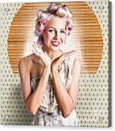 Retro Woman At Beauty Salon Getting New Hair Style Acrylic Print