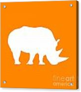 Rhino In Orange And White Acrylic Print