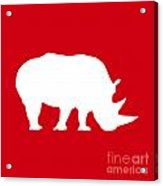 Rhino In Red And White Acrylic Print