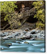 River Flowing Through Rocks, Zion Acrylic Print