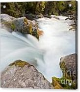 River Rapids Washing Over Rocks With Silky Look Acrylic Print