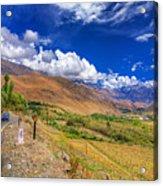 Road And Mountains Of Leh Ladakh Jammu And Kashmir India Acrylic Print