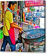 Roasting Chestnuts In China Town In Bangkok-thailand  Acrylic Print