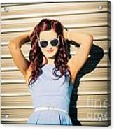 Rockabilly Greaser Pin-up. 50s Drive-in Culture Acrylic Print
