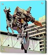 Rocket Cow Sculpture By Michael Bingham Acrylic Print by Steve Ohlsen
