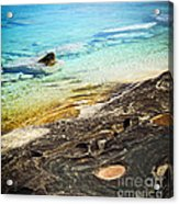 Rocks And Clear Water Abstract Acrylic Print