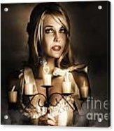 Romantic Blonde Woman Holding The Light Of Love Acrylic Print