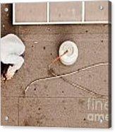 Roofer Using Propane Torch To Repair Flat Roof Acrylic Print