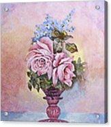 Roses In Ruby Vase Acrylic Print