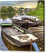 Rowboats On The French Canals Acrylic Print by Debra and Dave Vanderlaan