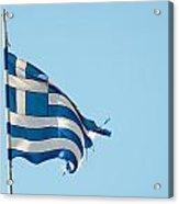 Rundown Greece Flag Acrylic Print