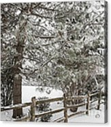 Rural Winter Scene With Fence Acrylic Print