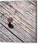 Rusty Nail In An Old Wooden Board Acrylic Print