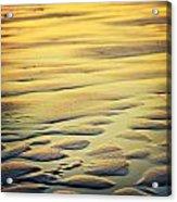 Rythm On Sand With Wave On Sea Coast At Sunset Color Acrylic Print