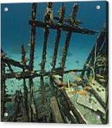Safari Boat Wreckage And Aquatic Life In The Red Sea. Acrylic Print