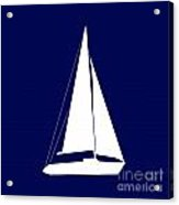 Sailboat In Navy And White Acrylic Print