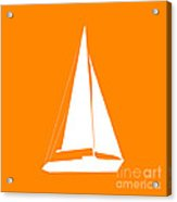 Sailboat In Orange And White Acrylic Print