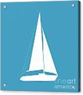 Sailboat In White And Turquoise Acrylic Print