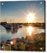 Sailboat Pier In Lake Michigan Nature Scenary Near Racine Wisconsin Acrylic Print